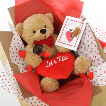 Let's Kiss Hug Care Package Featuring Amber Shaggy Cuddles Teddy Bear