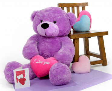 True Love Bear Hug Care Package with DeeDee Cuddles Lavender Purple 38in