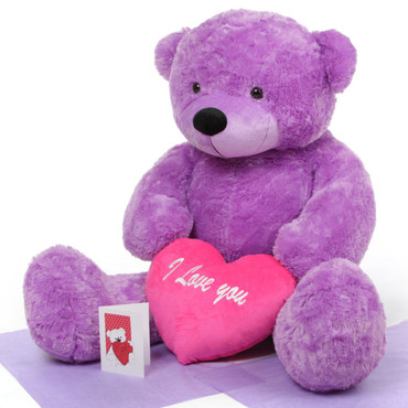 Giant True Love Bear Hug Care Package with DeeDee Cuddles Lavender Purple 48in