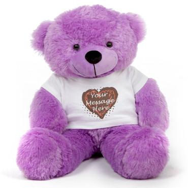 30in Purple DeeDee Cuddles Personalized Teddy Bear with Heart Truffle Shirt