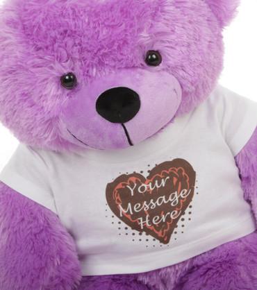 2.5ft DeeDee Cuddles Purple Teddy Bear with Truffle T-shirt
