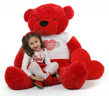 Red Hot 60in Bitsy Cuddles Giant Personalized Teddy Bear with Heart Print Tshirt