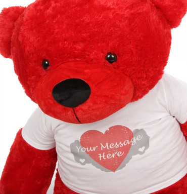 60in Bitsy Cuddles with Heart Print T-shirt Teddy Bear