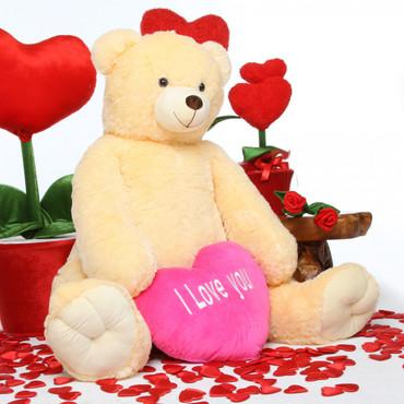 Jumbo Tiny Heart Tubs I LOVE YOU Hot Pink Heart Cream Teddy Bear 52in