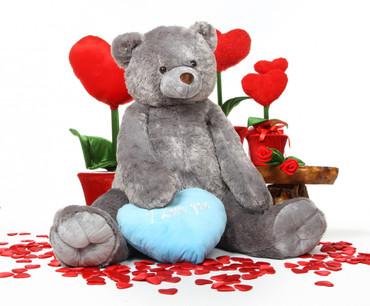 Jumbo Sugar Heart Tubs I LOVE YOU Blue Heart Silver Grey Teddy Bear 52in
