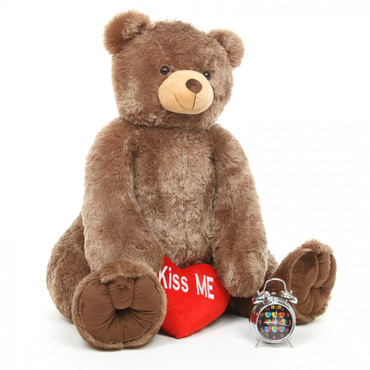 4ft Mocha Brown Sweetie Tubs Teddy Bear with Red Kiss Me Heart