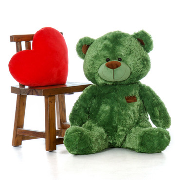 35 Inch Green Sitting Position Big Teddy Bear