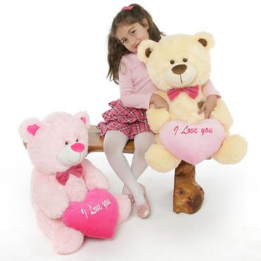 Pink and Cream Teddy Bears Lulu Shags and BooBoo Shags