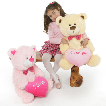 Pink and Cream Teddy Bears Lulu Shags and BooBoo Shags
