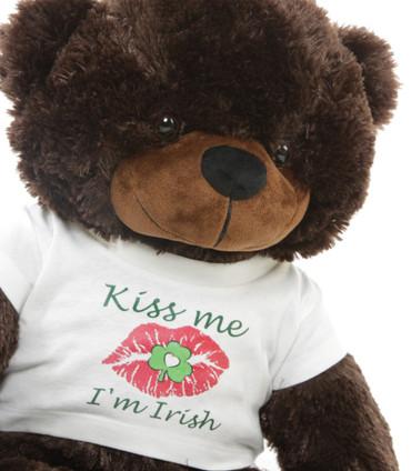 "Kiss me I'm Irish T-Shirt St Patrick's Day Teddy Bear 24"""