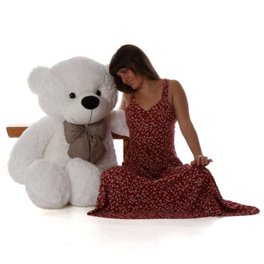 48in humongous white teddy bear is so big and huggable you'll love Coco Cuddles from Giant Teddy