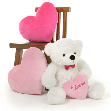 30in Coco L Cuddles White Teddy Bear with I Love You Heart