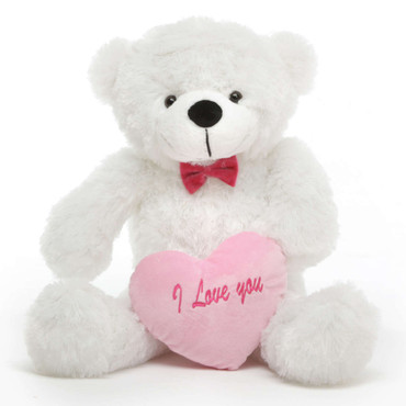 Coco L Cuddles White Teddy Bear with I Love You Heart 30in