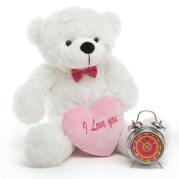2.5ft White Oversized Coco Cuddles Teddy Bear Heart Package