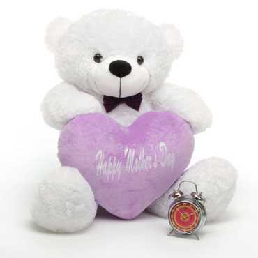 38in White Coco Cuddles Happy Mother Day Teddy Bear