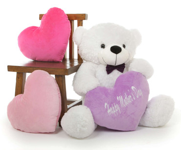 38in Coco M Cuddles White Teddy Bear with Happy Mothers Day Heart
