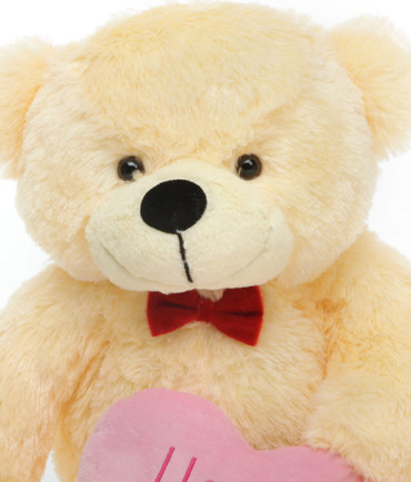 30in Cozy L Cuddles Vanilla Teddy Bear with I Love You Heart