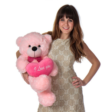 30in Pink Teddy bear with hot pink i love you heart pillow