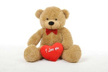 2.5ft Amber Shaggy Cuddles Teddy Bear with I Love You Heart