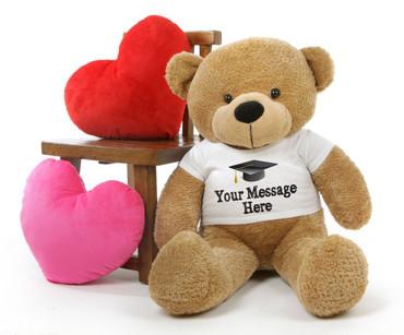38in Huge Amber Teddy Bear Shaggy Cuddles with Graduation T-shirt