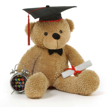 24in Shaggy G Cuddles Amber Graduation Teddy Bear with Cap and Diploma