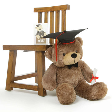 Mocha Brown Teddy Bear with Diploma and Graduation Cap