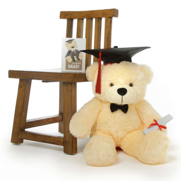 Super Cute Vanilla Cream Teddy Bear with Graduation Cap and Diploma