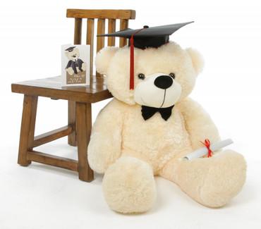 Cozy G Cuddles Vanilla Graduation Teddy Bear with Cap and Diploma 38in