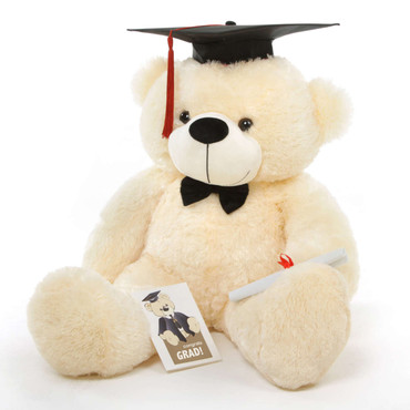 Huge Cream Teddy Bear with Graduation Cap and Diploma