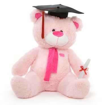 Sitting Position Graduation Teddy Bear in Pink