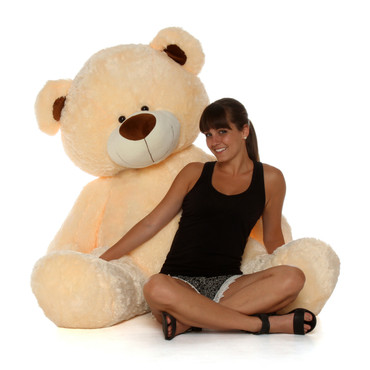 Giant 60 Inch Cream Shags Teddy Bear in Sitting Position Adorable
