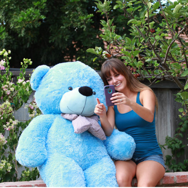 72in enormous light blue teddy bear bigger than a person Happy Cuddles