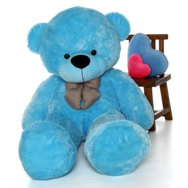 Life Size Softest and huggable Blue Teddy Bear Happy Cuddles 6ft