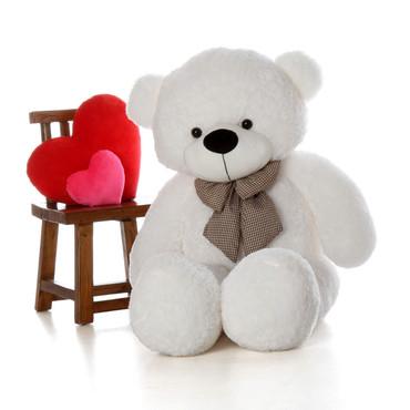 60in Coco Cuddles White Teddy Bear