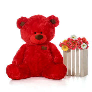Randy Shags Chubby and Adorable Bright Red Teddy Bear 48in