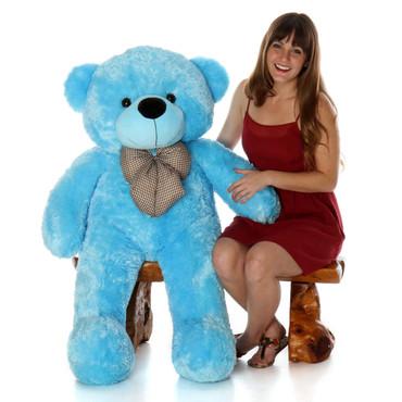 4ft Huggable Happy Cuddles Blue Teddy Bear