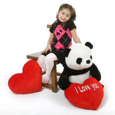 24 in panda Bear with I Love You Heart