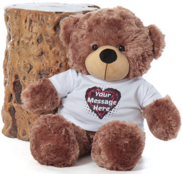 Mocha 24in Sunny Cuddles Personalized Teddy Bear with Heart Truffle Tshirt