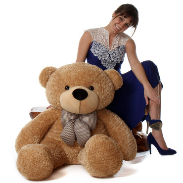 48in Life Size Amber Brown Teddy Bear Shaggy Cuddles