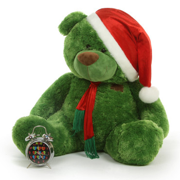 Green Big Teddy Bear with Santa Hat