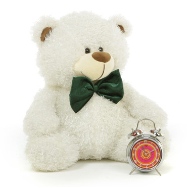 Fluffy White Cute Christmas Teddy Bear with Green Bow