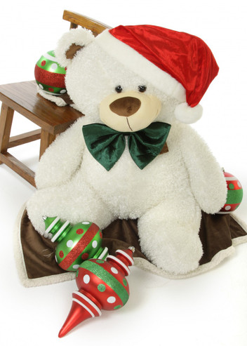 """Wishing you a White Teddy Bear Christmas! 45"""" Frosty Fluffy Shags bear with Santa hat and bow tie."""