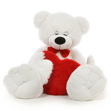 Giant 4 1/2 Foot Teddy Bear with Ribbon and Red Heart