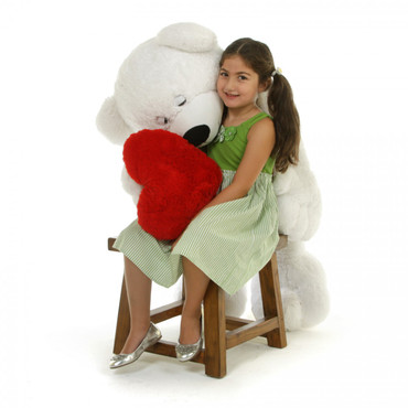 Super Cute White Teddy Bear with Red Heart