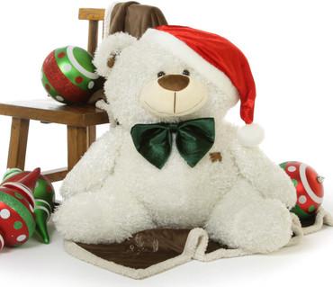 Big White Christmas Teddy Bear Joy Fluffy Shags, 35 inches of Holiday Cheer!