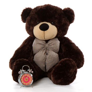 Tall dark handsome and cuddly 38in life size giant teddy bear Brownie Cuddles dk brown fur
