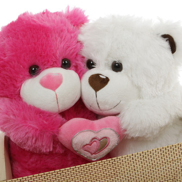 Super Soft Pink and White Teddy Bears with Pink Heart