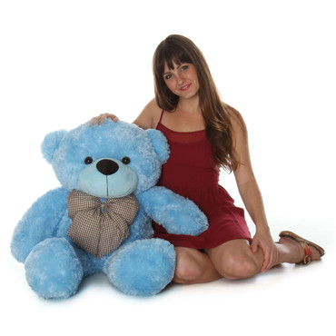 Huge Blue Teddy Bear Happy Cuddles 38in