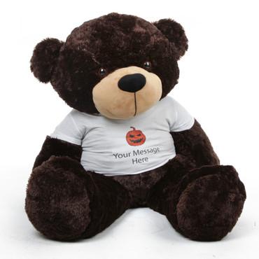 48 inch Giant Teddy Halloween Bear Brownie Cuddles wearing a Happy Halloween custom t-shirt with a black and orange jack-o-lantern is an amazing gift!