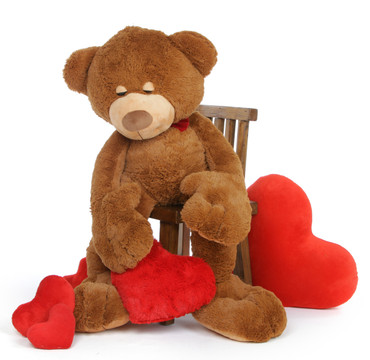 Chester Mittens is a soft cuddly light brown sleepy teddy bear holding a plush red heart – use him as a body pillow!